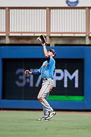 Tampa Bay Rays Beau Brundage (67) settles under a fly ball during a Florida Instructional League game against the Baltimore Orioles on October 1, 2018 at the Charlotte Sports Park in Port Charlotte, Florida.  (Mike Janes/Four Seam Images)
