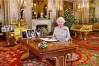 25 December 2018 - Queen Elizabeth II after she recorded her annual Christmas Day message, in the White Drawing Room of Buckingham Palace in central London. Photo Credit: ALPR/AdMedia