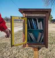 NWA Democrat-Gazette/ANTHONY REYES • @NWATONYR<br /> Lon Netherton Thursday, Feb. 11, 2016 outside his home in Springdale. Netherton built a Little Free Library. He and his wife keep several books for children and adults for anyone to borrow. Their home, off Elm Springs Road, can be busy, so they encourage anyone interested to park in their driveway or grass to safely look at books.