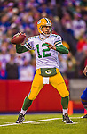 14 December 2014: Green Bay Packers quarterback Aaron Rodgers sets to pass in the fourth quarter against the Buffalo Bills at Ralph Wilson Stadium in Orchard Park, NY. The Bills defeated the Packers 21-13, snapping the Packers' 5-game winning streak and keeping the Bills' 2014 playoff hopes alive. Mandatory Credit: Ed Wolfstein Photo *** RAW (NEF) Image File Available ***