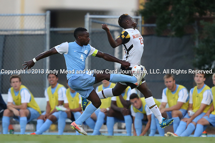 13 September 2013: North Carolina's Boyd Okwuonu (4) and Maryland's Schillo Tshuma (ZIM) (23). The University of North Carolina Tar Heels hosted the University of Maryland Terrapins at Fetzer Field in Chapel Hill, NC in a 2013 NCAA Division I Men's Soccer match. The game ended in a 2-2 tie after two overtimes.