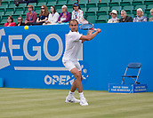 June 15th 2017, Nottingham, England; ATP Aegon Nottingham Open Tennis Tournament day 6;  Marius Copil of Roumania in action on centre court against Reilly Opelka of USA