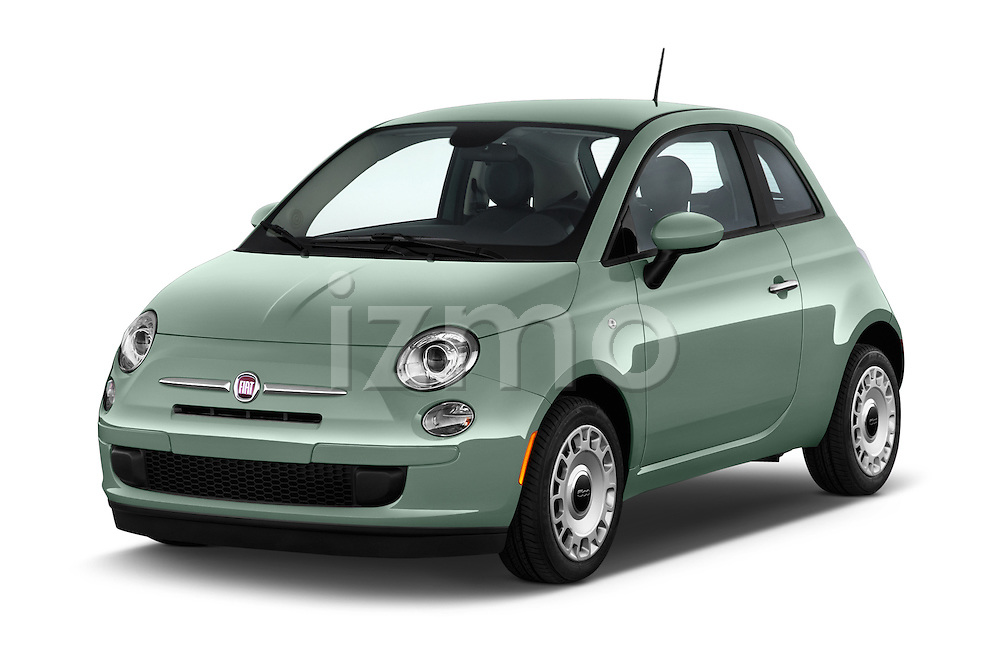 2015 Fiat 500 POP 3 Door Hatchback Angular Front stock photos of front three quarter view