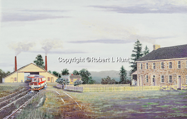 "Lemon House and Engine House #6 on the Allegheny Portage Railroad at Cresson, PA, part of the Pennsylvania Canal system. Available as a 12' x 19"" limited edition fine art lithograph."