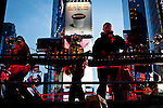 People work on setting up lights and stage in Times Square for New Year Eve 2012 celebrations in New York City. 12/29/11.  Photo by Eduardo Munoz Alvarez / VIEWpress.