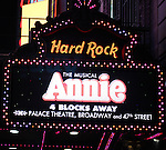 Marquee for the The Broadway Opening Night Performance After Party for 'Annie' at the Hard Rock Cafe in New York City on 11/08/2012