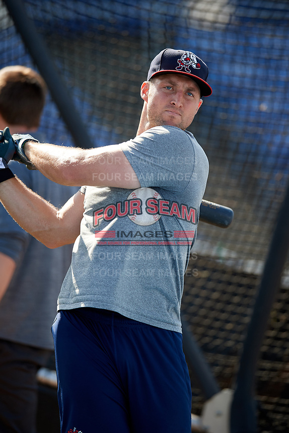 Binghamton Rumble Ponies left fielder Tim Tebow (15) during batting practice prior to a game against the Erie SeaWolves on May 14, 2018 at NYSEG Stadium in Binghamton, New York.  Binghamton defeated Erie 6-5.  (Mike Janes/Four Seam Images)