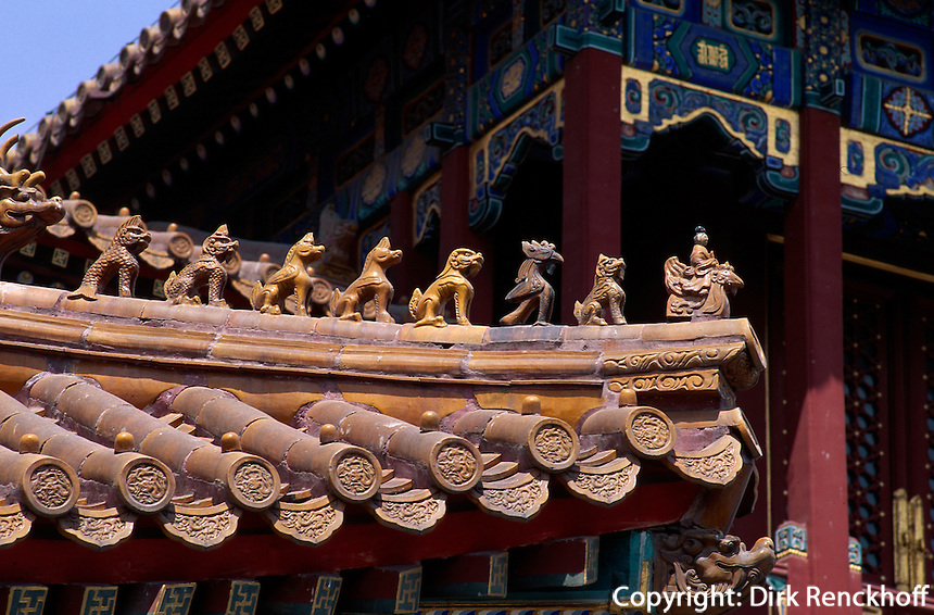 China, Peking, Lama-Tempel, Dachdetail Wan Fu Ge