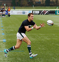 Ealing's Joe Munro with ball work in the warm up during the Greene King IPA Championship match between Ealing Trailfinders and Bedford Blues at Castle Bar , West Ealing , England  on 29 October 2016. Photo by Carlton Myrie / PRiME Media