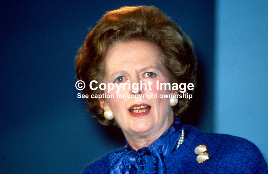Margaret Thatcher, Prime Minister, MP,  Conservative Party, UK, speaking, annual conference, 19871034MT2.<br /> <br /> Copyright Image from Victor Patterson, 54 Dorchester Park, Belfast, UK, BT9 6RJ<br /> <br /> t1: +44 28 9066 1296 (from Rep of Ireland 048 9066 1296)<br /> t2: +44 28 9002 2446 (from Rep of Ireland 048 9002 2446)<br /> m: +44 7802 353836<br /> <br /> victorpatterson@me.com<br /> www.victorpatterson.com<br /> <br /> Please see my Terms and Conditions of Use at victorpatterson.com . It is IMPORTANT that you familiarise yourself with them.<br /> <br /> Images used on the Internet incur an additional cost and must be visibly watermarked i.e. &copy;Victor Patterson within the body of the image and copyright metadata must not be deleted. Images used on the Internet have a size restriction of 4kbs and are chargeable at rates available at victorpatterson.com.<br /> <br /> This image is only available for the use of the download recipient i.e. television station, newspaper, magazine, book publisher, etc, and must not be passed on to any third party. It is also downloaded on condition that each and every usage is notified within 7 days to victorpatterson@me.com<br /> <br /> The right of Victor Patterson to be identified as the author is asserted in accordance with The Copyright Designs And Patents Act (1988). All moral rights are asserted.