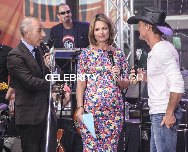 NEW YORK CITY, NY, USA - MAY 23: Matt Lauer, Savannah Guthrie, Tim McGraw performs on NBC's 'Today' at the Rockefeller Center on May 23, 2014 in New York City, New York, United States. (Photo by Jeffery Duran/Celebrity Monitor)