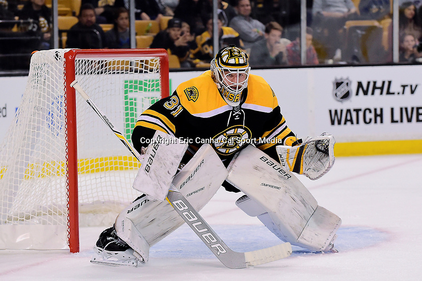 Monday, September 26, 2016: Boston Bruins goalie Zane McIntyre (31) tends the goal during the NHL game between the Columbus Blue Jackets and the Boston Bruins held at TD Garden, in Boston, Massachusetts. Columbus defeats Boston 3-2 in an overtime shoot out. Eric Canha/CSM