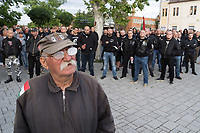 """Members of far-right party """"Our Homeland"""" and other radical groups demonstrate against alleged crimes committed by Roma people in Torokszentmiklos (about 120 kilometres South-East of capital city Budapest), Hungary on May 21, 2019. ATTILA VOLGYI"""