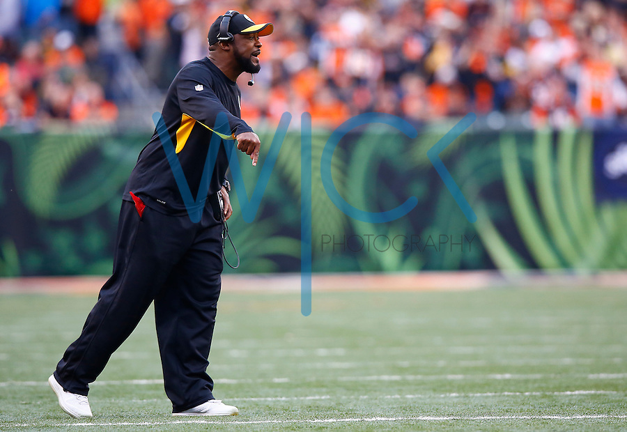 Head coach Mike Tomlin of the Pittsburgh Steelers looks on against the Cincinnati Bengals during the game at Paul Brown Stadium on December 12, 2015 in Cincinnati, Ohio. (Photo by Jared Wickerham/DKPittsburghSports)