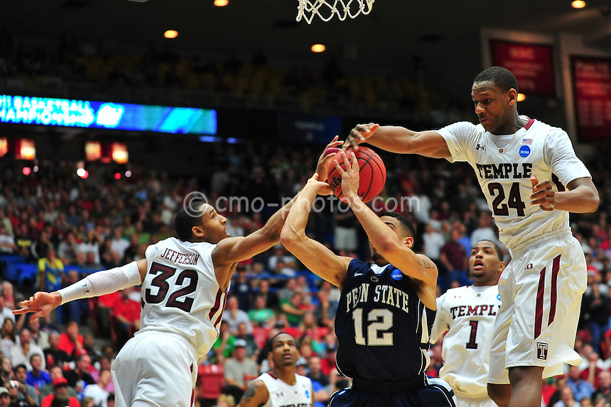 Mar 17, 2011; Tucson, AZ, USA; Temple Owls forwards Lavoy Allen (24) and Rahlir Jefferson (32) block the shot of Penn State Nittany Lions guard Talor Battle (12) late in the second half of a game in the second round of the 2011 NCAA men's basketball tournament at the McKale Center.