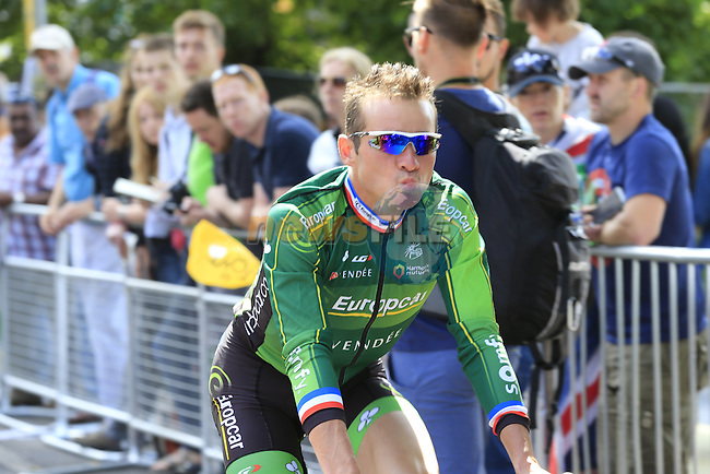 Thomas Voeckler (FRA) Team Europcar at sign on in Cambridge before the start of Stage 3 of the 2014 Tour de France running 155km from Cambridge to London. 7th July 2014.<br /> Picture: Eoin Clarke www.newsfile.ie