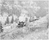 Leased D&amp;RGW K-27 #464 switching cars for an RGS trip to Telluride.<br /> RGS  Vance Junction, CO  Taken by Richardson, Robert W. - 10/12/1945