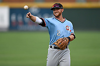Shortstop Ryan Dorow (2) of the Hickory Crawdads warms up before a game against the Greenville Drive on Monday, July 23, 2018, at Fluor Field at the West End in Greenville, South Carolina. Hickory won, 6-1. (Tom Priddy/Four Seam Images)
