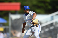 Bluefield Blue Jays relief pitcher Meliton Reyes (30) in action during a game against the Danville Braves at American Legion Post 325 Field on July 28, 2019 in Danville, Virginia. The Blue Jays defeated the Braves 9-7. (Tracy Proffitt/Four Seam Images)