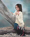 "A young Sioux girl looks on pensively with her attention captured, a Native American child portrait. Oil on canvas, 20"" x 16""."