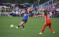 Kansas City, MO - Saturday May 07, 2016: FC Kansas City midfielder Mandy Laddish (7) against Houston Dash midfielder Andressa Machry (17) during a regular season National Women's Soccer League (NWSL) match at Swope Soccer Village. Houston won 2-1.