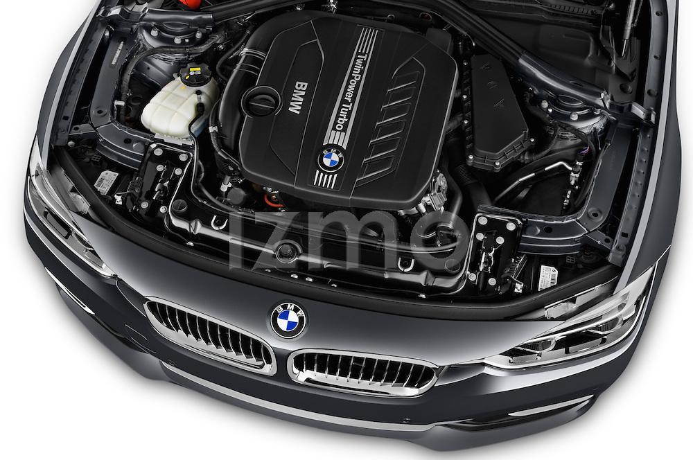 Car Stock 2016 BMW 3 Series Luxury 4 Door Sedan Engine  high angle detail view