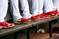 Members of the Springfield Cardinals sit in the dugout during a game against the Arkansas Travelers at Hammons Field on May 8, 2012 in Springfield, Missouri. (David Welker/ Four Seam Images)