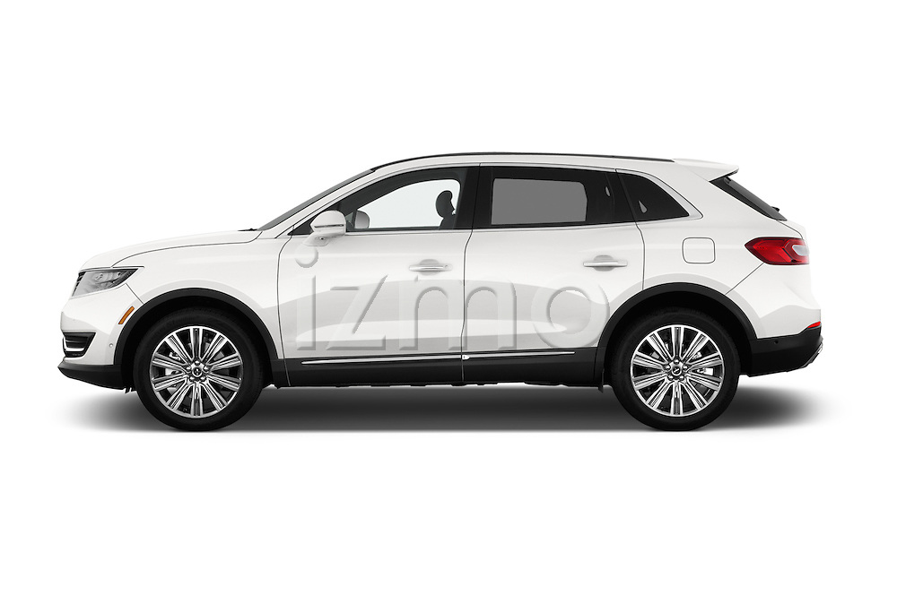Car Driver side profile view of a 2018 Lincoln MKX Black Label 5 Door Suv Side View
