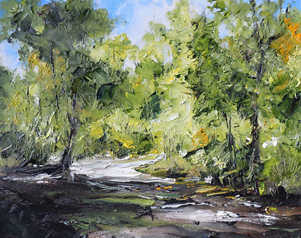 Original oil painting depicting a peaceful path into the woods.