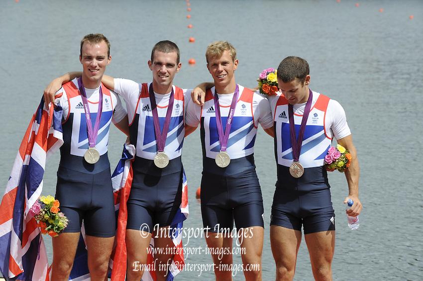 Eton Dorney, Windsor, Great Britain,..2012 London Olympic Regatta, Dorney Lake. Eton Rowing Centre, Berkshire.  Dorney Lake.   ..Silver  Medalist  - GBR LM4-.   12:51:02   Thursday  02/08/2012   [Mandatory Credit: Peter Spurrier/Intersport Images]  .