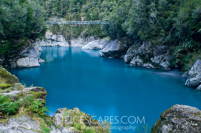 Dark blue colours of the Hokitika River in the famous Hokitika Gorge - South Westland, New Zealand