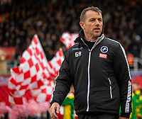 11th January 2020; Bet365 Stadium, Stoke, Staffordshire, England; English Championship Football, Stoke City versus Milwall FC; Millwall Manager Gary Rowett - Strictly Editorial Use Only. No use with unauthorized audio, video, data, fixture lists, club/league logos or 'live' services. Online in-match use limited to 120 images, no video emulation. No use in betting, games or single club/league/player publications