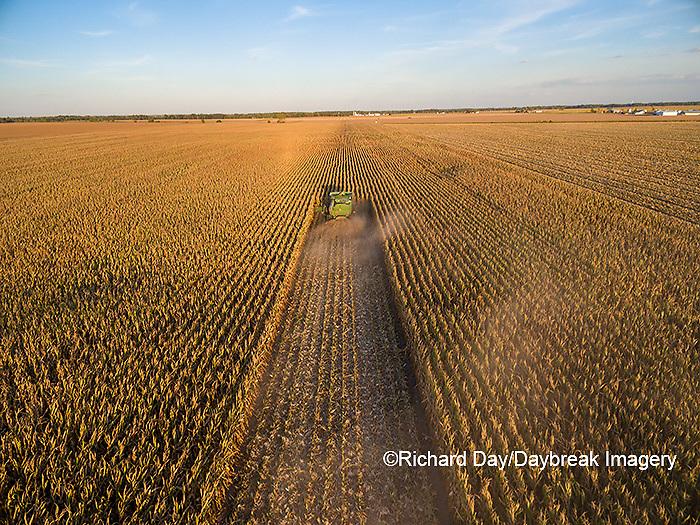 63801-08619 Corn Harvest, John Deere combine harvesting corn - aerial Marion Co. IL
