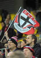Fans in the stands during the Australian Rules Football ANZAC Day match between St Kilda Saints and Brisbane Lions at Westpac Stadium, Wellington, New Zealand on Friday, 25 April 2014. Photo: Dave Lintott / lintottphoto.co.nz