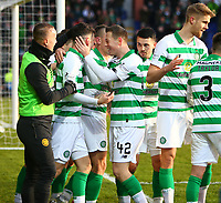 1st December 2019; Global Energy Stadium, Dingwall, Highland, Scotland; Scottish Premiership Football, Ross County versus Celtic; Mikey Johnston of Celtic celebrates with his team makes after he makes it 4-1 in the 73rd minute - Editorial Use