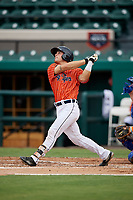 Lakeland Flying Tigers catcher Brady Policelli follows through on a swing during the second game of a doubleheader against the St. Lucie Mets on June 10, 2017 at Joker Marchant Stadium in Lakeland, Florida.  Lakeland defeated St. Lucie 9-1.  (Mike Janes/Four Seam Images)