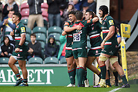 Jonny May of Leicester Tigers celebrates a try with team-mates. Aviva Premiership match, between Leicester Tigers and Exeter Chiefs on September 30, 2017 at Welford Road in Leicester, England. Photo by: Patrick Khachfe / JMP