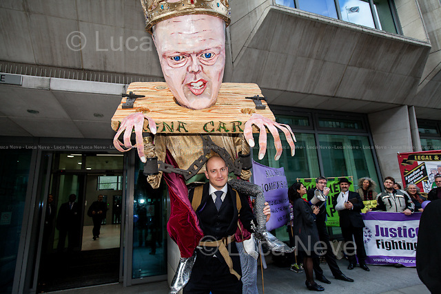 London, 05/05/2015. Today, the &quot;Justice Alliance&quot; and their Chris Grayling puppet dresses as King John Lackland held a &quot;farewell party&quot; outside the Ministry of Justice in Westminster to celebrate the last day of Chris Grayling as the British Minister of Justice. <br />