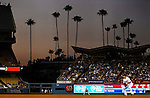 22 July 2011: Palm Trees fill the left field skyline at a game between the Washington Nationals and the Los Angeles Dodgers at Dodger Stadium in Los Angeles, California. The Nationals defeated the Dodgers 7-2 in their first meeting of the 2011 season. Mandatory Credit: Ed Wolfstein Photo