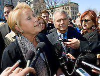 PQ leader Pauline Marois speaks in a press conference in front of the Quebec Legislature building in Quebec City April 24, 2008. Marois announced that she would like the province to have control over Radio-television and Telecommunications issues, a currently under control of the federal with the CRTC.