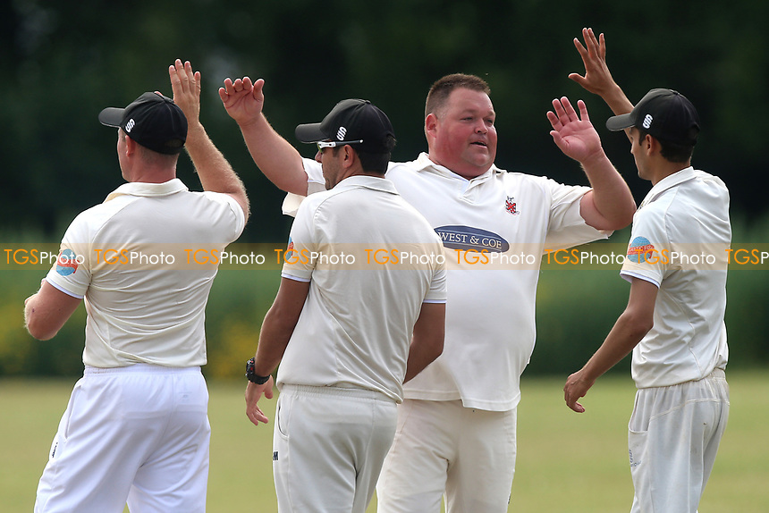M Whitlock of Hornchurch claims the ninth Upminster wicket during Upminster CC vs Hornchurch CC, Shepherd Neame Essex League Cricket at Upminster Park on 8th July 2017
