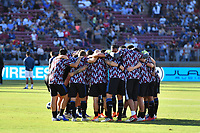 STANFORD, CA - JUNE 29: San Jose Earthquakes huddle during a Major League Soccer (MLS) match between the San Jose Earthquakes and the LA Galaxy on June 29, 2019 at Stanford Stadium in Stanford, California.