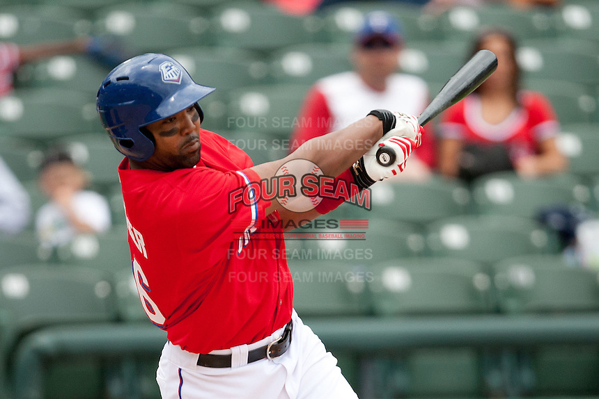 Round Rock Express outfielder Joey Butler #16 swings during the Pacific Coast League baseball game against the Iowa Cubs on April 15, 2012 at the Dell Diamond in Round Rock, Texas. The Express beat the Cubs 11-10 in 13 innings. (Andrew Woolley / Four Seam Images).