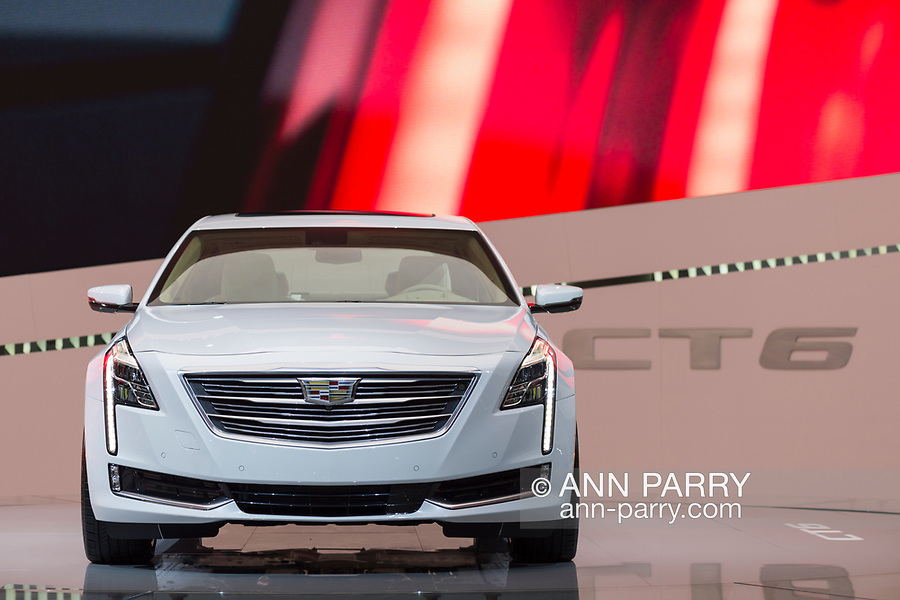 """Manhattan, New York, USA. April 12, 2017.  2017 White Cadillac Touring 6, CT6, is on display at the New York International Auto Show, NYIAS, during the first Press Day at the Javits Center. About two Press Conferences were held each hour at the annual event """"Where the auto industry gathers to unveil the future."""""""