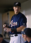 Reno Aces' Mike Jacobs talks with teammates in a game against the Las Vegas 51s, in Reno, Nev., on Saturday, Sept. 6, 2014. The Aces won 7-3, to win the Pacific Conference Championship Series. <br /> Photo by Cathleen Allison