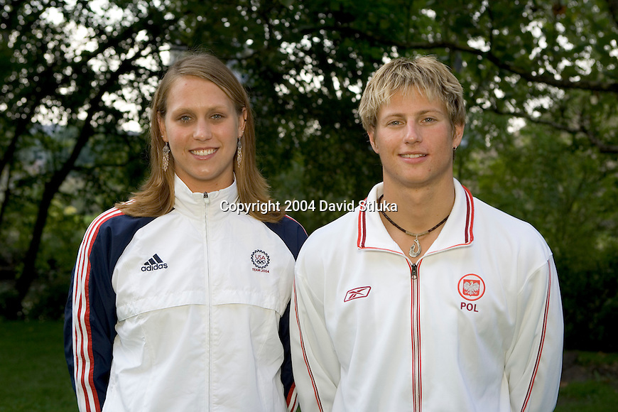 MADISON, WI - SEPTEMBER 3: 2004  Olympic Swimmers Carly Piper and Adam Mania of the University of Wisconsin Badgers swim team on September 3, 2004 in Madison, Wisconsin. (Photo by David Stluka)