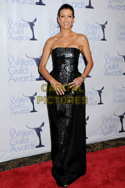KATE WALSH .WGA 2009 Writers Guild Awards at the Hyatt Regency Century Plaza Hotel, Century City, CA, USA, .07 February 2009. .full length shiny strapless black long maxi dress clutch bag .CAP/ADM/BP.©Byron Purvis/Admedia/Capital PIctures