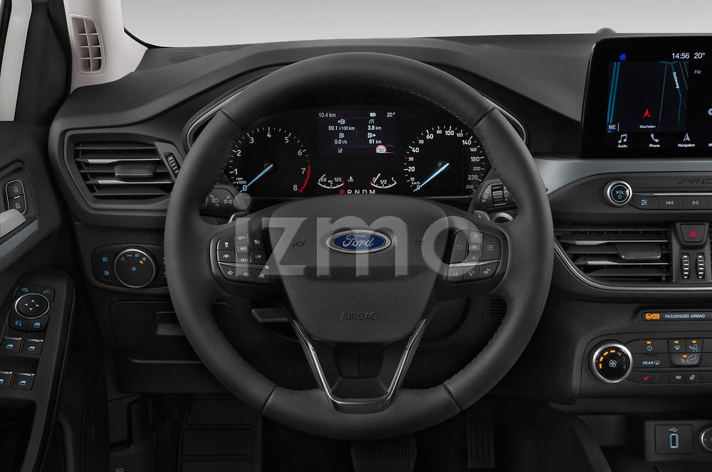 Car pictures of steering wheel view of a 2019 Ford Focus-Clipper Active-Business 5 Door Wagon