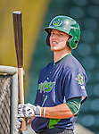 8 July 2015: Vermont Lake Monsters outfielder Skye Bolt awaits his turn in the batting cage prior to a game against the Mahoning Valley Scrappers at Centennial Field in Burlington, Vermont. The Lake Monsters defeated the Scrappers 9-4 to open the home game series of NY Penn League action. Mandatory Credit: Ed Wolfstein Photo *** RAW Image File Available ****