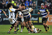 Amanaki Mafi of Bath Rugby looks to fend Ashley Johnson of Wasps. Aviva Premiership match, between Bath Rugby and Wasps on February 20, 2016 at the Recreation Ground in Bath, England. Photo by: Patrick Khachfe / Onside Images